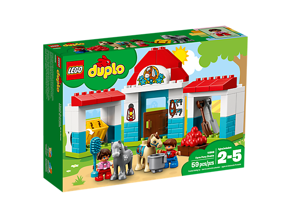 <p>Toddlers will love to groom, feed and water the cute pony figures at the LEGO® DUPLO® Farm Pony Stable, developing fine motor skills as they build this colorful set.</p>