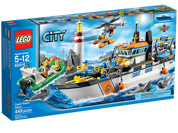 call the coast guard patrol boat to make the rescue with a helicopter and submarine - Lego City Bateau