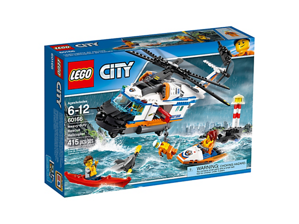 Make a daring rescue in the Heavy-duty Rescue Helicopter with working crane arm and winch, opening sides and back, lighthouse, shipwreck, kayak, 4 minifigures and a shark figure.