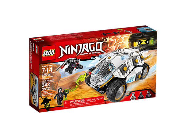 <p>Pursue the Nindroids in Zane's Titanium Ninja Tumbler, featuring spring-loaded missiles, stud shooters, detachable flyer and a prison. Includes 3 minifigures.</p>