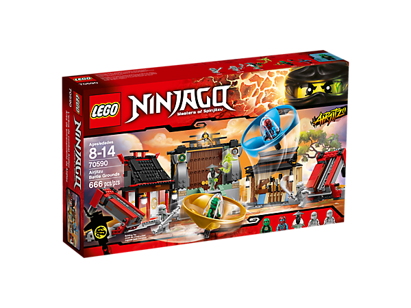 <p>Master the ninja arts at the Airjitzu Battle Grounds, featuring 2 detachable Airjitzu flyers, sliding stairs function, roof traps and ninja weapons, plus 5 minifigures.</p>