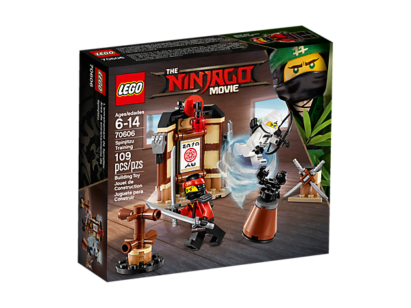 Sharpen your Spinjitzu skills at the dojo, featuring a wall with detachable staffs, weapon rack with katanas, Garmadon combat dummy, combat training station and 2 minifigures.