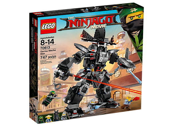 Join Lloyd's battle against Garmadon's huge posable Garma Mecha Man with a spring-loaded shark blaster and a fish tank to store ammo. Includes 4 minifigures with assorted weapons.