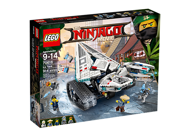 Freeze the shark army with Zane's Ice Tank, featuring an ice cannon with 6-stud rapid shooter and automatic rotating ice container. Includes 5 minifigures.