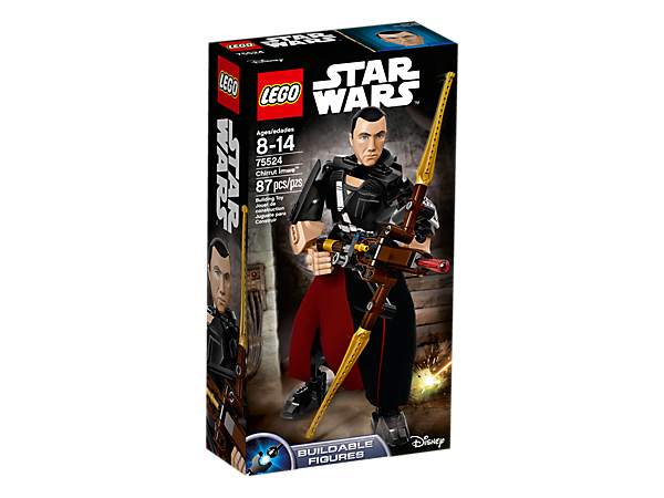 <p>Leap into battle with buildable and highly posable Chirrut Îmwe, complete with folding bowcaster with spring-loaded shooter, textile tunic and decorated elements.</p>