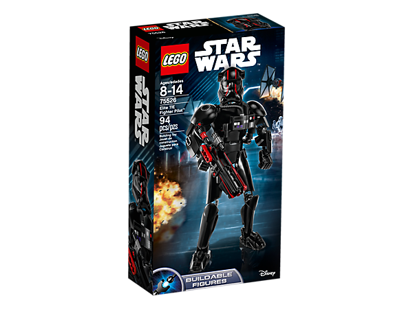 Zoom into battle with this buildable and highly posable Elite TIE Fighter Pilot figure, featuring a spring-loaded blaster rifle, red-striped helmet and breathing system detailing.