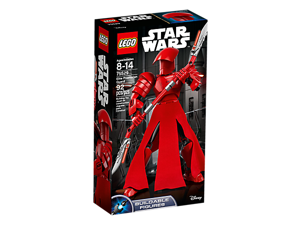 Engage in elite combat with this buildable and highly posable Elite Praetorian Guard figure, featuring red armor, textile skirt, lever-activated moving arms and a bladed staff.