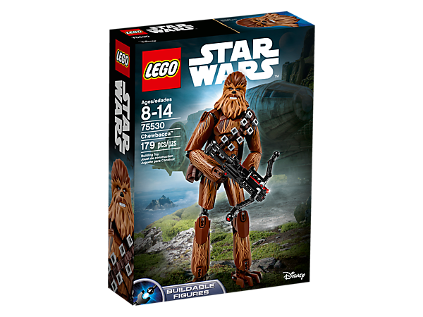 Enter battle with buildable and highly posable Chewbacca, featuring 'fur' decoration, detailed head, removable ammo belt and bag, and spring-loaded bowcaster weapon.