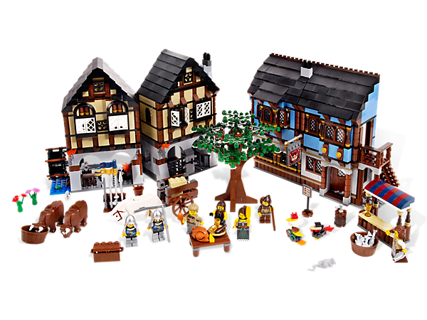 Add European style to your LEGO® Castle kingdom with this Medieval Market Village, includes all-new animals, rare elements, colors, more!