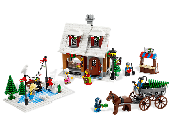 Celebrate yesteryear with this festive holiday scene, includes ice skaters, lights, a horse-drawn cart and the Winter Village Bakery!