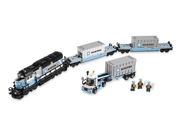 The highly realistic Maersk diesel-electric freight train has arrived and is ready to be motorized by adding LEGO® Power Functions!