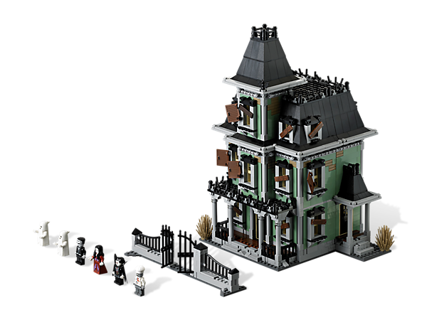 """Fight your way through spider webs to enter Vamprye's Haunted House, features unique """"crooked"""" design, zombie and glow-in-the-dark ghosts!"""