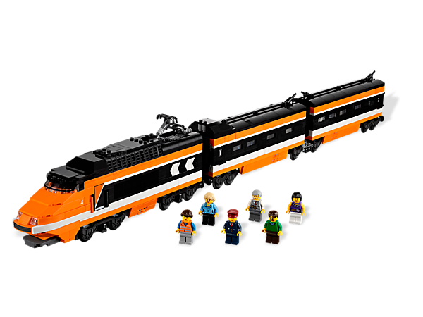 Build the ultimate 3-car, high-speed passenger train, featuring orange LEGO® bricks, printed windshield and tiles, black train windows and much more.