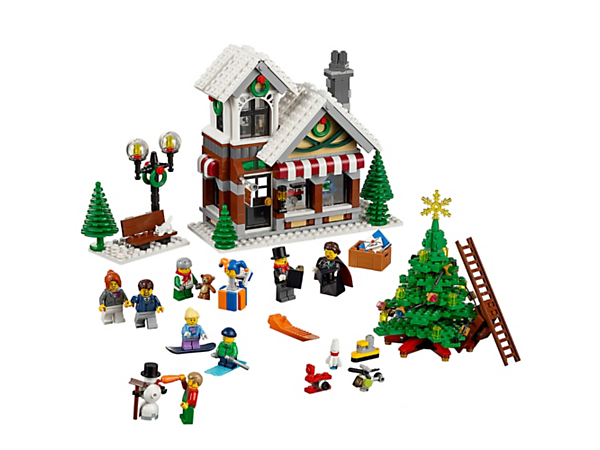 Enjoy festive family fun building the Winter Toy Shop, with Christmas tree, toys, gifts, streetlight, bench, 8 minifigures and a snowman.