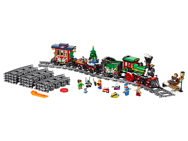 Have festive fun with the Winter Holiday Train, featuring a sturdy engine, tender, wagon with holiday tree, gifts and toys, cozy caboose, round track and 5 minifigures.