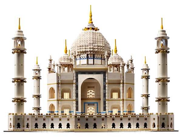 Explore the iconic Taj Mahal with this magnificent LEGO® Creator Expert model, featuring a wealth of rich details, including sweeping arches, ornate domes, soaring minarets and decorative finials.