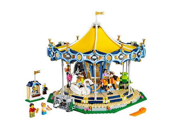 Take a ride on the wonderful Carousel with a 2-tier deck, moving animals, ornate, reflective rounding boards, ticket booth and a wealth of magical details, plus 7 minifigures.