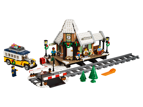 Celebrate the holiday season with this beautiful Winter Village Station set, featuring a festively adorned train station with a coffee shop, ticket booth, grade crossing and a bus, plus 5 minifigures.