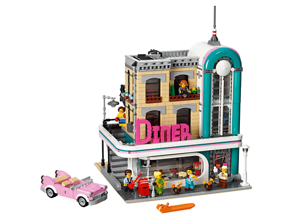 Drop in for a nostalgic brunch at the Downtown Diner, complete with diner, gym, recording studio and a wealth of brick-built details, plus fun celebrities and surprises. Includes 6 minifigures.