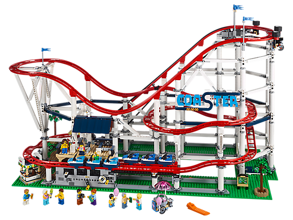 Enjoy the thrills and excitement of the fairground with this fully functional LEGO® Power Functions and BOOST upgradable chain-lift Roller Coaster, featuring a wealth of brick-built details and 11 minifigures.