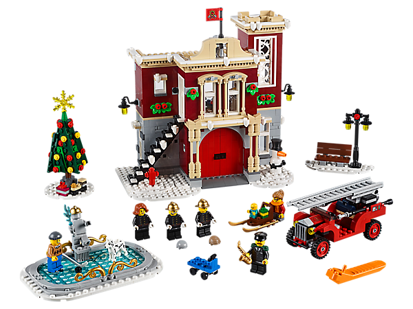 <p>Enjoy the Winter Village Fire Station, complete with fire truck, Christmas tree, ice rink, LEGO® light brick and lots of festive details. Includes 6 minifigures, plus baby and Dalmatian figures, and a brick-built snowman.</p>