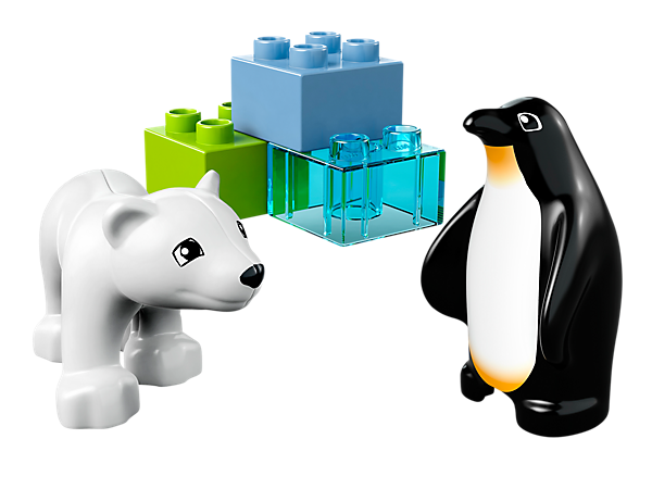 Build some frosty fun with the baby polar bear and penguin in a LEGO® DUPLO® Zoo Friends building adventure with 3 DUPLO bricks!