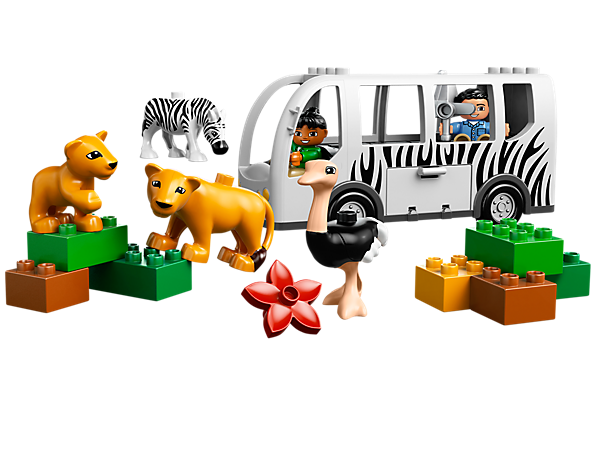 Hop aboard the LEGO® DUPLO® Zoo Bus with a driver and passenger for a fun photo safari featuring an ostrich, zebra, lioness and lion cub!