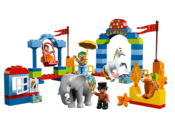 Build the LEGO® DUPLO® Big Circus to watch the ringmaster, tightrope walker, clown, circus-decorated elephant, horse and tiger perform!