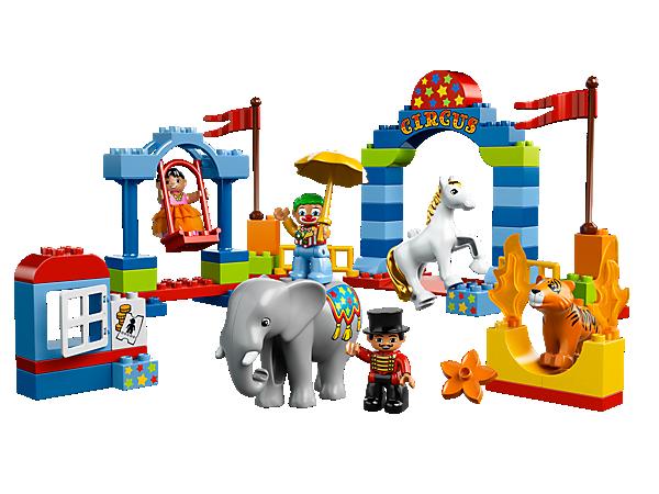 Baue den Großen LEGO® DUPLO® Zirkus zusammen und verfolge die Vorstellung! Mit Zirkusdirektor, Hochseilartistin, Clown sowie Elefant in Zirkusgeschirr, Pferd und Tiger!