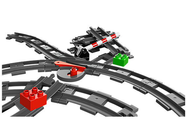 Expand your child's train fun with the LEGO® DUPLO® Train Accessory Set with curved and straight rails, points, a crossing and DUPLO bricks!