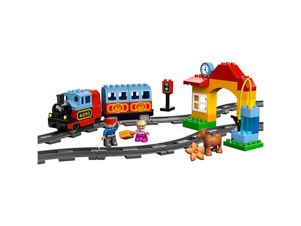 Create and conduct with My First Train Set featuring a steam train model with real sound effects, tracks and LEGO® DUPLO® bricks!