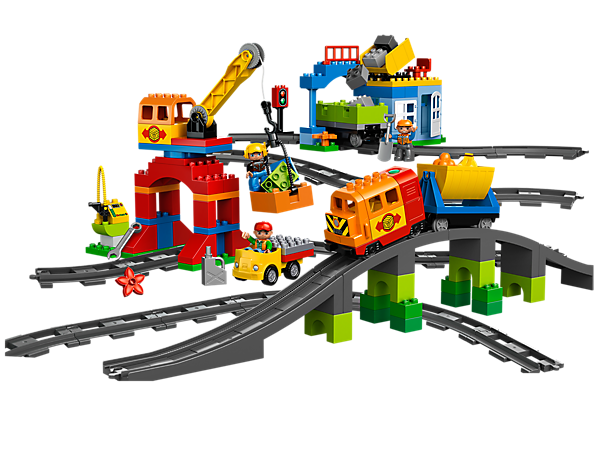 The LEGO® DUPLO® Deluxe Train Set features modern train with sound effects, 2 wagons, a truck, working crane, station, fueling pump and more!
