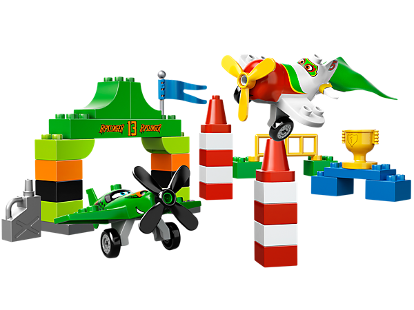 Race to the finish with Ripslinger and El Chu in the Disney Planes™ set from LEGO® DUPLO® including a race tent, flag, trophy and more!
