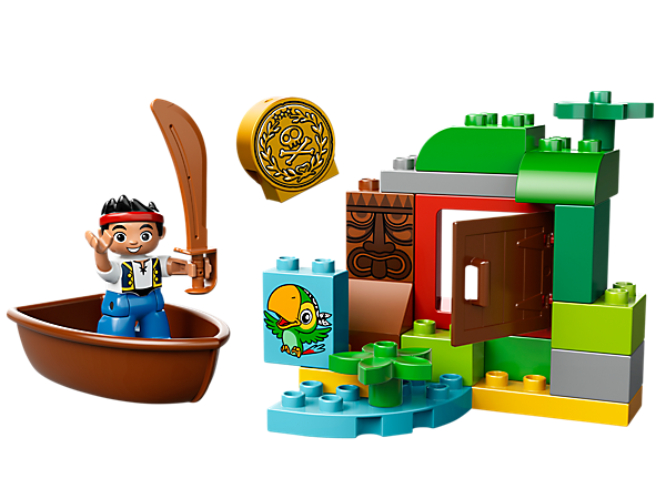 Find the gold doubloon on Jake's Treasure Hunt with a boat, hideout, Skully, Tiki and assorted LEGO® DUPLO® bricks!