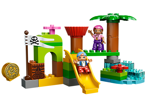 Build the LEGO® DUPLO® Never Land Hideout with Izzy, Cubby, slide, rotating lookout tower, tree, gold doubloon and assorted DUPLO bricks!