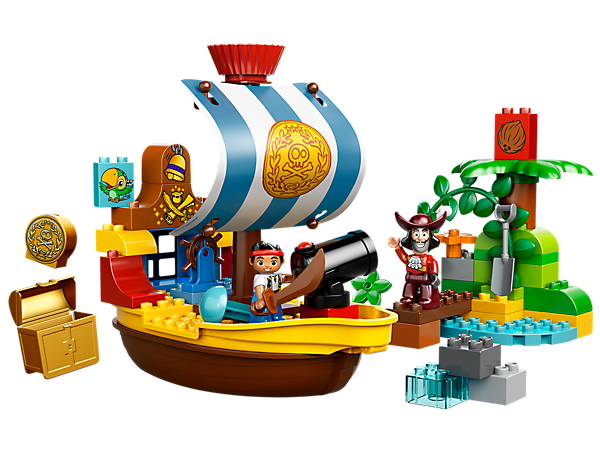 Protect the treasure aboard Jake's Pirate Ship Bucky with the shooting cannon in a pirate adventure featuring Jake and Captain Hook!