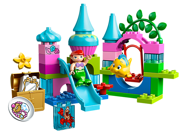 Swing, slide and search for treasure with Disney Princess Ariel, Flounder and Sebastian at their underwater playground!