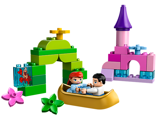 Set sail on a romantic castle boat that's fit for a princess with Ariel, Sebastian and Prince Eric!
