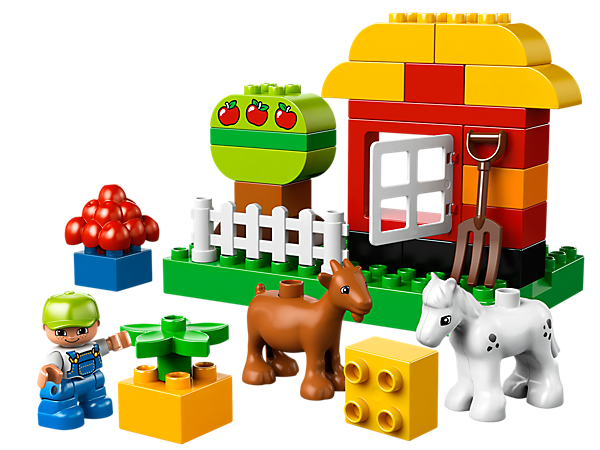 Keep the goat and pony out of the LEGO® DUPLO® My First Garden and away from the tree so the fruit and vegetables can grow!