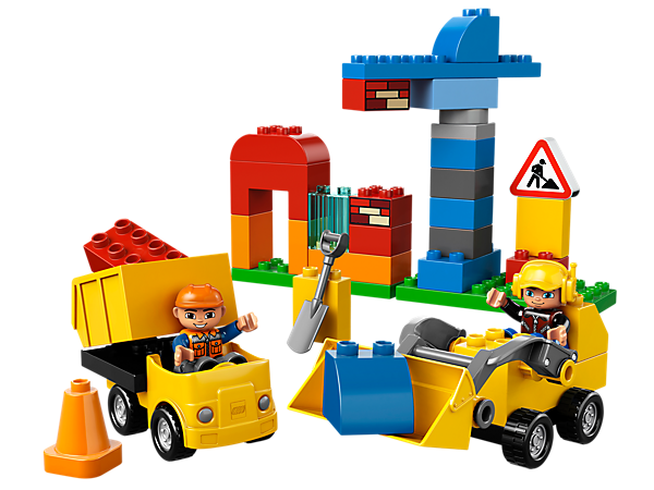 Help the LEGO® DUPLO® workmen in the My First Construction site with truck, front loader, crane, building, road sign, cone and more!