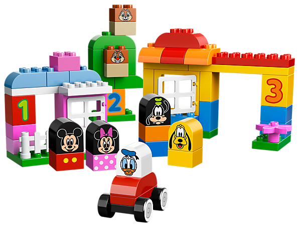 Play and build with Mickey Mouse, Minnie Mouse, Goofy, Pluto, Donald Duck and Chip & Dale with the Mickey & Friends play set!