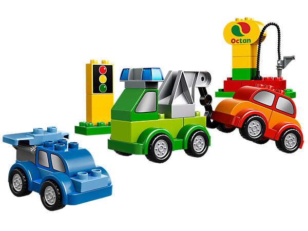 Build cool vehicles with LEGO® DUPLO® Creative Cars, decorated bricks, special engine, crane, spoiler elements and lots more!