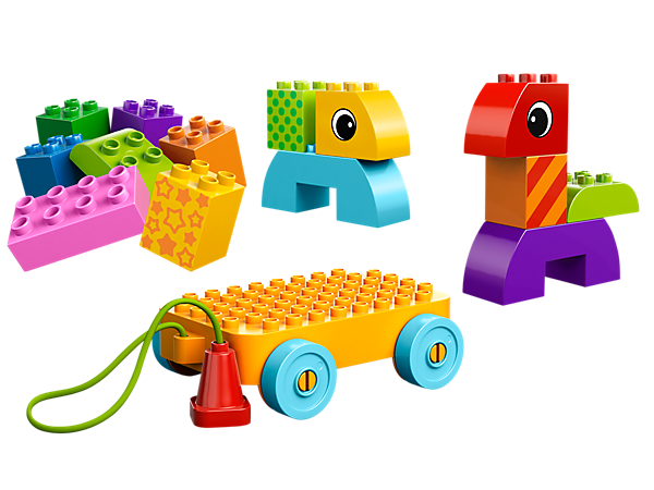 Create tons of toteable toddler toys using 15 extra-large LEGO® DUPLO® bricks in bright colours with the Toddler Build and Pull set!
