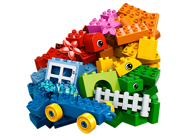 Build cars, animals and more with the LEGO® DUPLO® Creative Bucket with wagon base, eye-decorated bricks, window, fence, flowers and more!