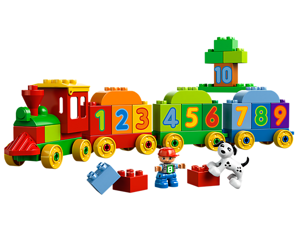Teach your child to count while playing with the LEGO® DUPLO® Number Train with numbered bricks, child, dog, wagon bases and more!