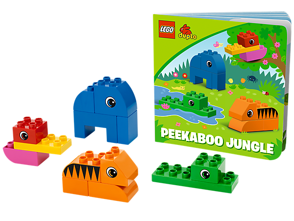 Build along with LEGO® DUPLO® bricks as your child listens along to the newest Bricks & Books set with Peekaboo Jungle!