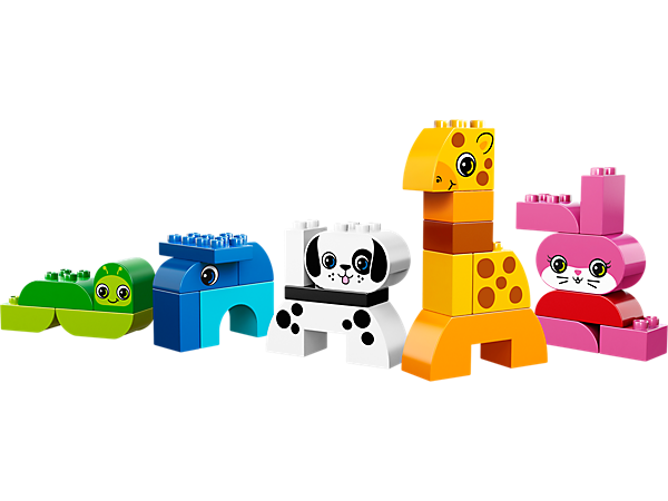 Inspire your child to build a giraffe, dog, bunny, worm and an elephant with the LEGO®DUPLO® Creative Animals set!