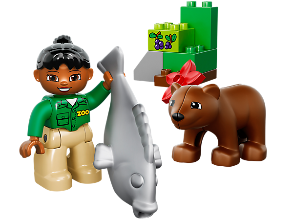 Teach your child about caring for animals with the LEGO® DUPLO® Zoo Care set with a big bear, zookeeper, fish and assorted DUPLO bricks.