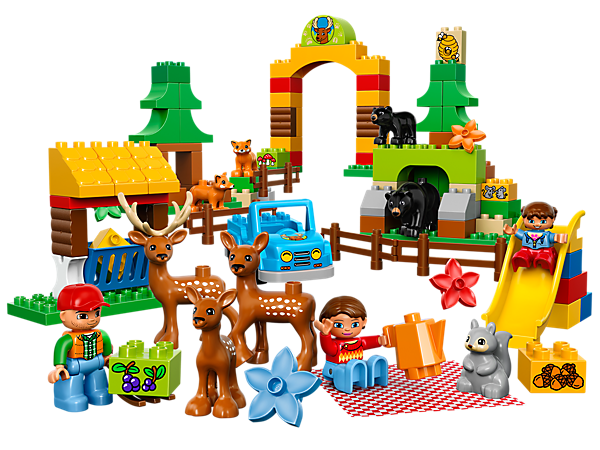 Find a family of deer at the LEGO® DUPLO® Forest: Park with 3 DUPLO figures, a car, barn, park gate and a slide plus more animal friends.