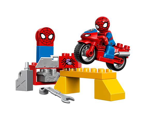 The LEGO® DUPLO® Spider-Man Web-Bike Workshop includes a Spider-Man figure, amazing motorbike, wrench, oil can and decorated bricks.
